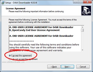 Tampilan License Agreement, Proses instalasi Orbit Downloader (untuk mempercepat download)