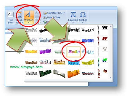 gambar toolbar insert wordart, pelangi